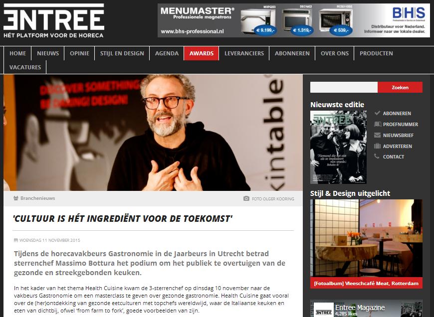 Entree Magazine over Massimo Bottura - Health Cuisine vakbeurs Gastronomie 2015